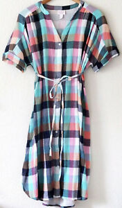 A35 New Ingrid /& Isabel Maternity Plaid  Tie Waist Shirt Dress Orange//Green S