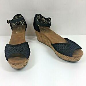 Toms Womens Wedge Espadrille Buckle Strap Platform Black Tan Sandals Size 10