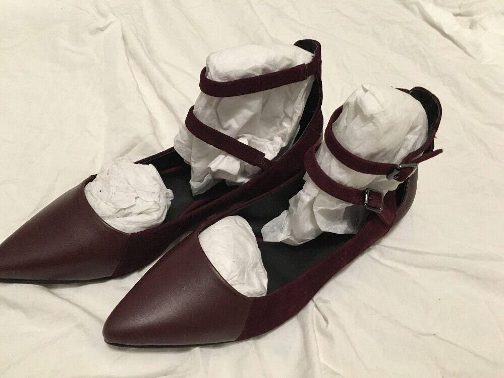 Rebeccah Minkoff Finn Ballet Zapatos sin Taco 8.5 Sin Sz 8.5 Taco Nwo Doble Puerto De Correa De Tobillo Gamuza 0cc085