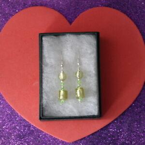 Hooks In Gift Box Beautiful Murano Glass /& Turquoise Earrings 5 Gr 4 Cm.Long