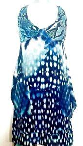 ROBERTO-CAVALLI-Damen-Kleid-Dress-blau-weiss-blue-white-Animal-Print-NEU-NP-426