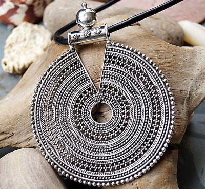 Galaktisch Groß 10 cm Silber Kettenanhänger Floral Antik Rund Amulett Verspielt | eBay