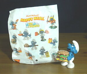 Smurfs-McDonalds-Big-Mac-Smurf-Rare-Vintage-PVC-Figure-Hamburger-Toy-Figurine