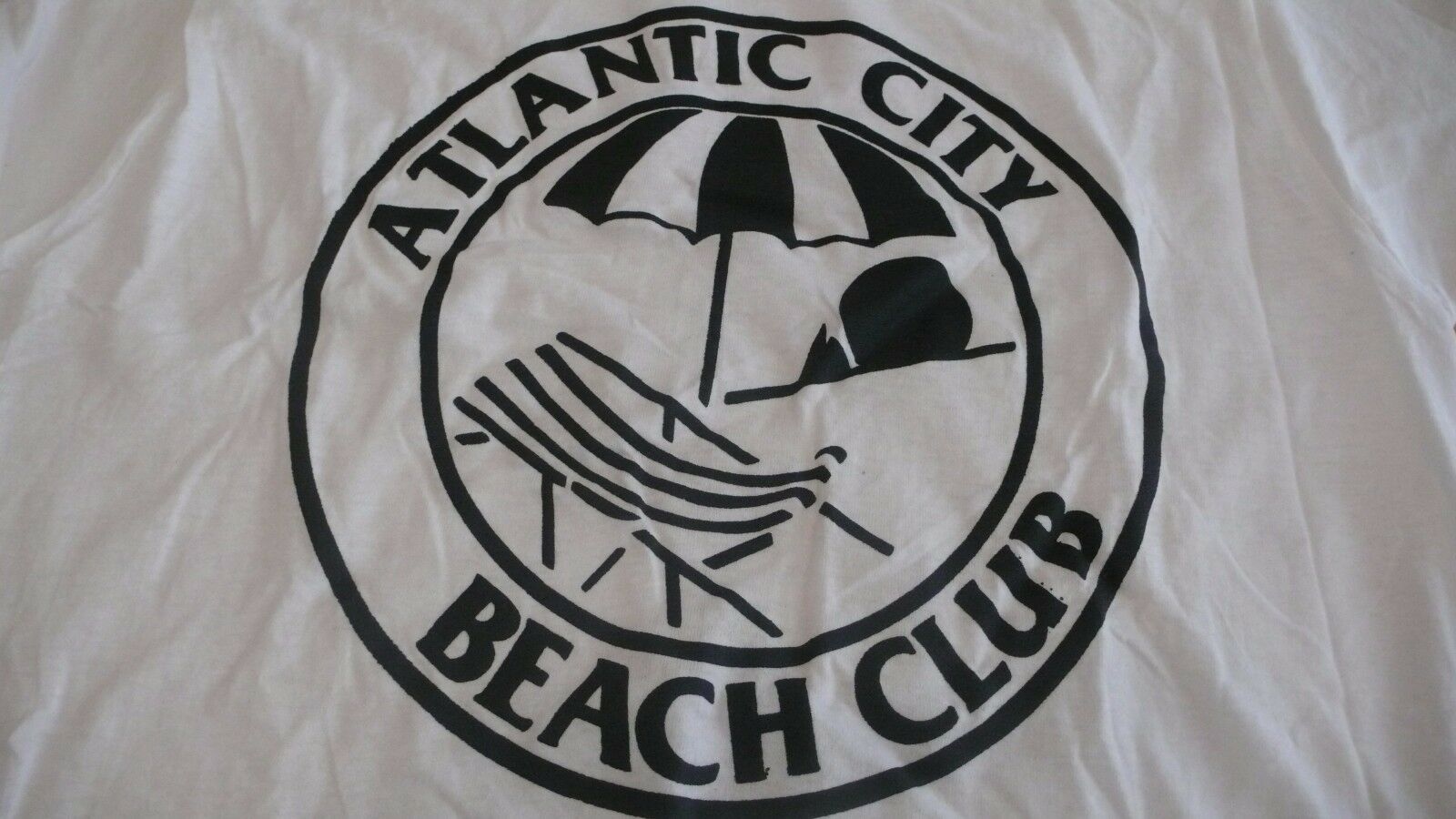 Vtg./New ATLANTIC CITY BEACH CLUB NEW JERSEY LARGE Weiß T-SHIRT MADE IN USA