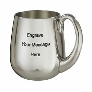NEW-Personalised-1-Pint-Stout-Polished-Pewter-Tankard-Any-Message-Engraved