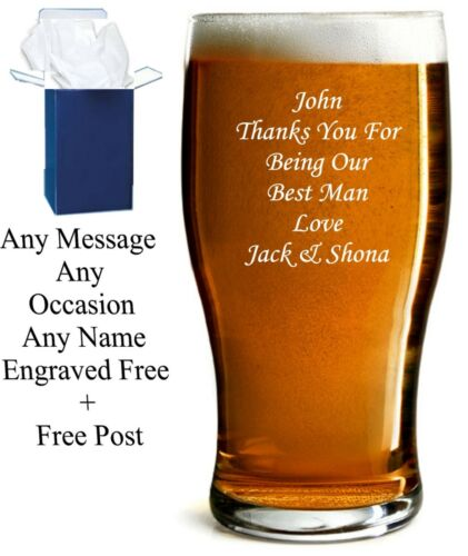 Personalised 1 Pint Tulip Beer Glass Retirement Gift Engraved With Any Message