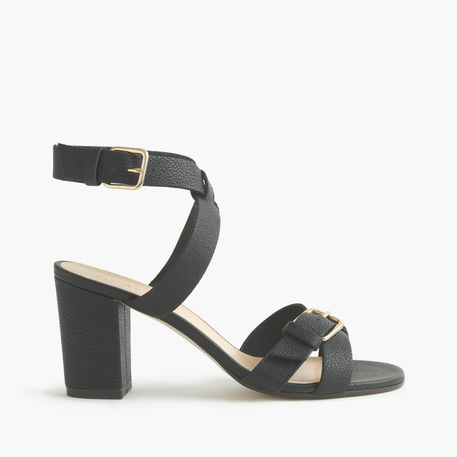 New in Box J Crew Women Buckled mid-heel sandals Black Size 8M