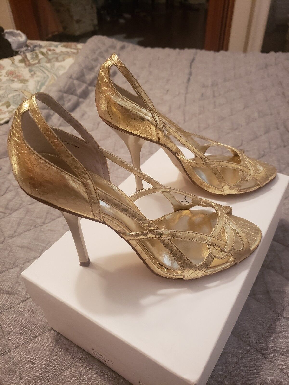 BCBGirls Metallic or Snake Embossed Leather Cut Out Heels 8.5 EUC