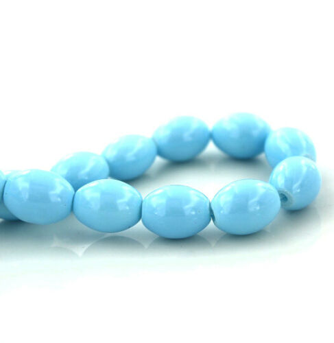Oval Glass Beads Pastel Blue 8mm x 6mm BD1123 Approx 100 Pieces 1 Strand