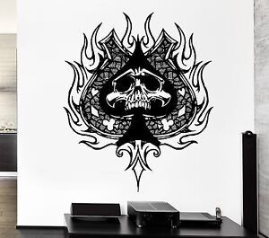 Wall Decal Skull Skeleton Playing Card Suits Death Spades
