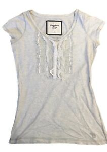 Women-039-s-Abercrombie-amp-Fitch-T-Shirt-Grey-Lace-Front-Small-Short-Sleeve-Cotton