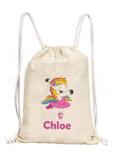 Personalised Unicorn Ballet Cotton Canvas drawstring// tote dance shoe gym bag