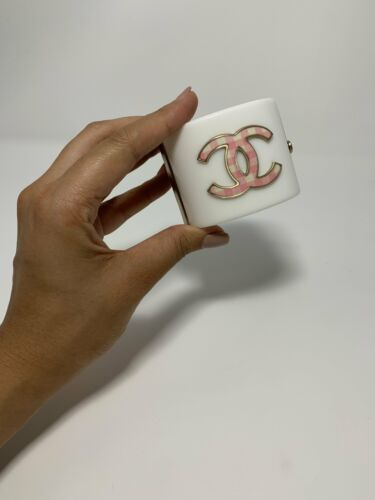 Chanel White & Pink Gingham Cuff