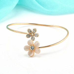 HOT-Women-Flower-Crystal-Gold-Plated-Cuff-Bracelet-Bangle-Charm-Jewelry-Gift