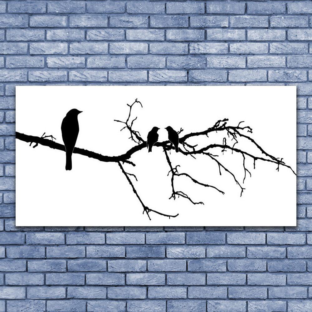 Glas Drucken Wand Kunst 140x70 Image Bild Birds Branch Kunst