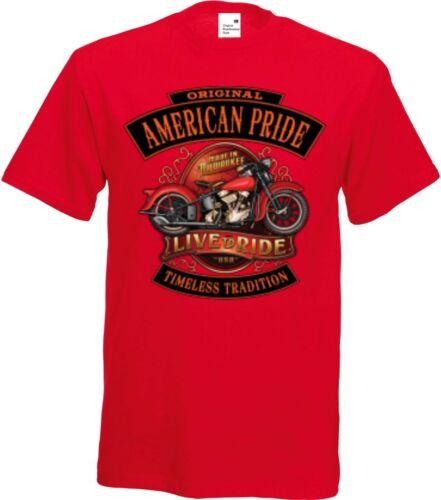 /& Moto Pression Modèle American Pride Knuckle T shirt rouge clair HD V Twin Biker