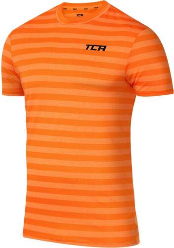 TCA Quickdry Striped Short Sleeve Mens Training Top-Orange