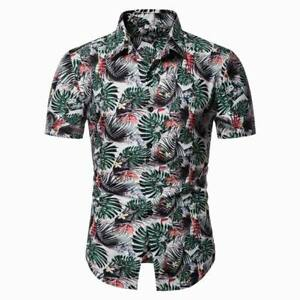Floral-tops-summer-t-shirt-casual-short-sleeve-formal-luxury-slim-fit-men-039-s