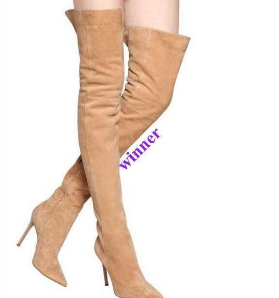 Para mujer botas Largas Nuevas encima de la rodilla alta botas zapatos de plataforma elegante Puntera Puntiaguda