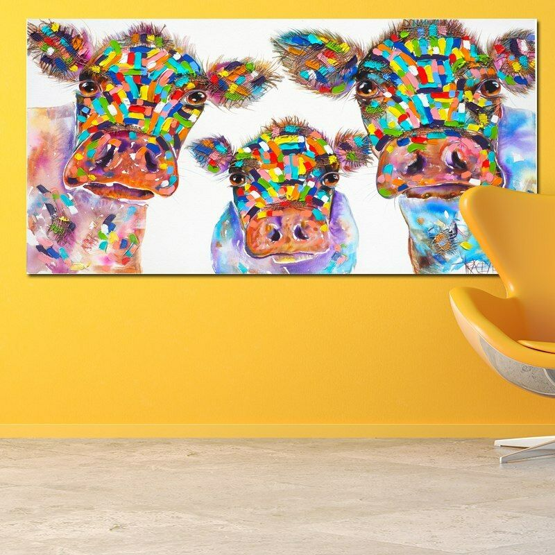Animal Cow Family WaterFarbe Canvas Painting Wall Art Poster Prints