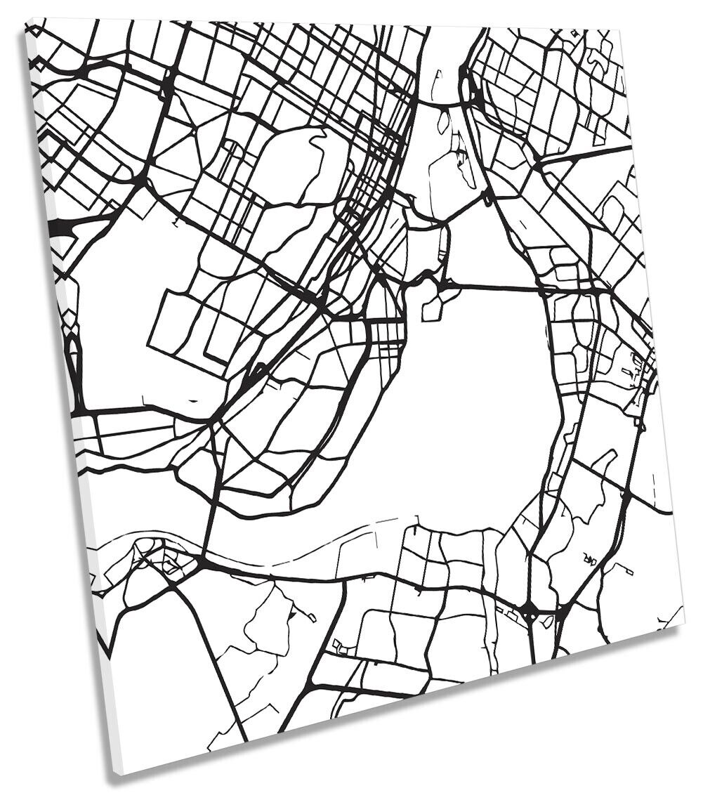Montreal City Street Map Picture CANVAS WALL ART Square Print