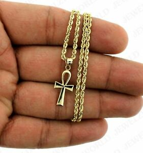 10K-Yellow-Gold-Egyptian-Ankh-Cross-Charm-Pendant-With-2mm-Rope-Chain-Necklace
