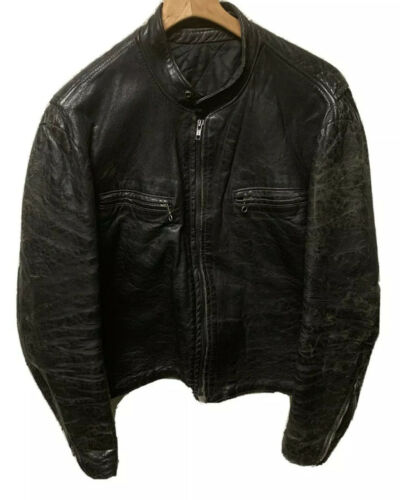 VTG 70's Cafe Racer Leather Distressed Jacket Size