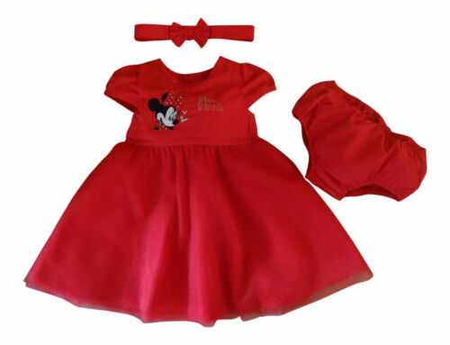 DISNEY MINNIE MOUSE RED PARTY DRESS SET WITH KNICKERS /& HEAD BAND