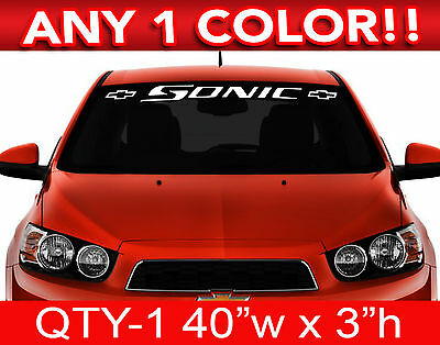"""CHEVY CAMARO w BOWS WINDSHIELD DECAL STICKER 46/""""w x 3/""""h ANY 2 COLORS"""