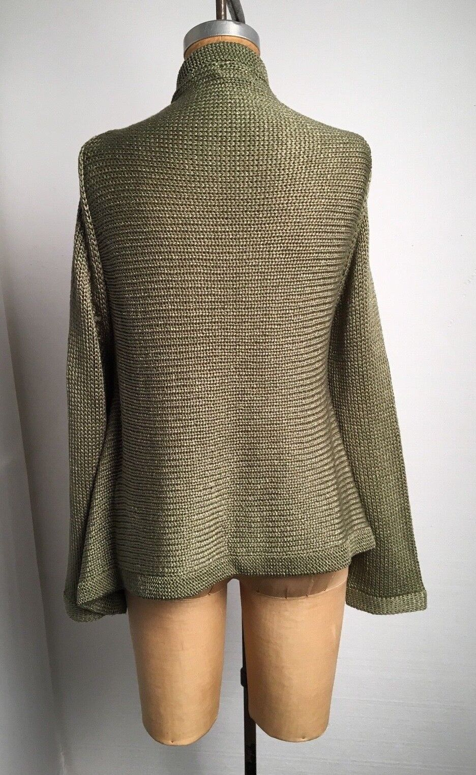 Vtg 90s City Casuals M Chunky Knit Credver Credver Credver Cardigan Sweater Sage Green w Pin 91473f