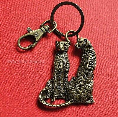 Vintage Bronze Leopard Keychain Ladies Men Gift Zoology Wild Big Cat Bag charm