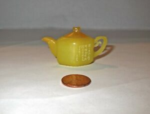 Miniature Chinese HAND CARVED & WORKING YELLOW JADE TEAPOT - SIGNED