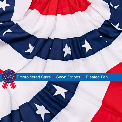 2 Pack Patriotic American Bunting Banner with 10 Zip Ties USA Pleated Fan Flag