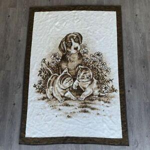 Vintage-Biederlack-Bed-Sofa-Couch-Throw-Blanket-Kitten-Cat-Dog-Puppy-75-x-53