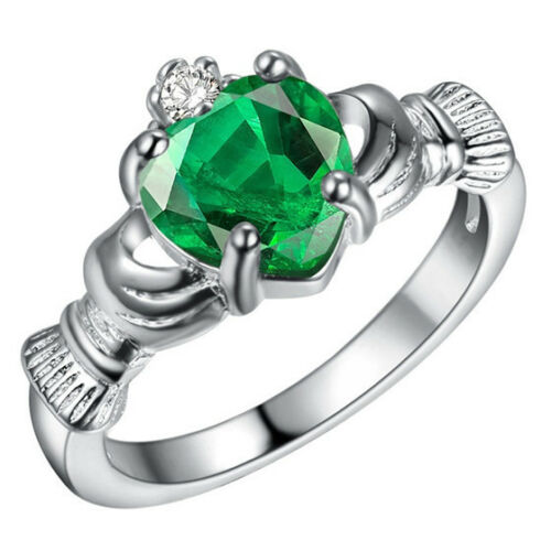 Women Fashion Jewelry Silver Sapphire Crown Wedding Engagement Claddagh Ring