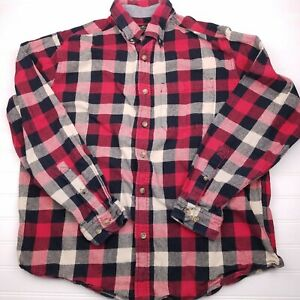EDDIE-BAUER-Long-Sleeve-Plaid-check-flannel-shirt-red-black-men-039-s-size-large-C31