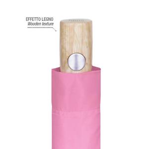 Ombrello Pieghevole Tinta Unita Sfumato-Impugnatura Effetto Legno-Antivento 96cm