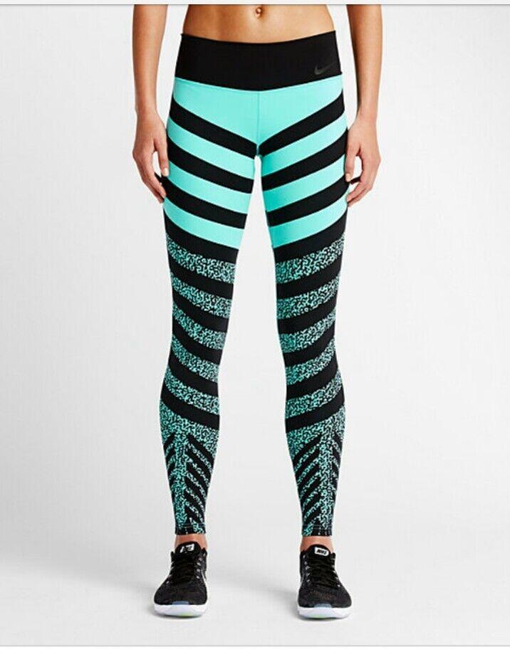 NWOT nike legendary tights sz xs aqua mezzo zebra stripe high waisted