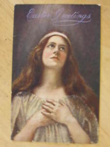 Easter-Beautiful-Ethereal-Woman-TUCK-Oilette-Heavy-Glitter-c1910-Postcard