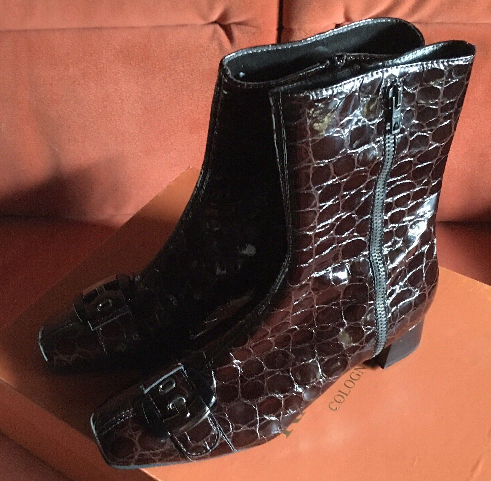 Superbe Stiefel RAPHAEL COLOGNE dunkelbraunes Lackleder Reptildesign Gr.39,5 NEU