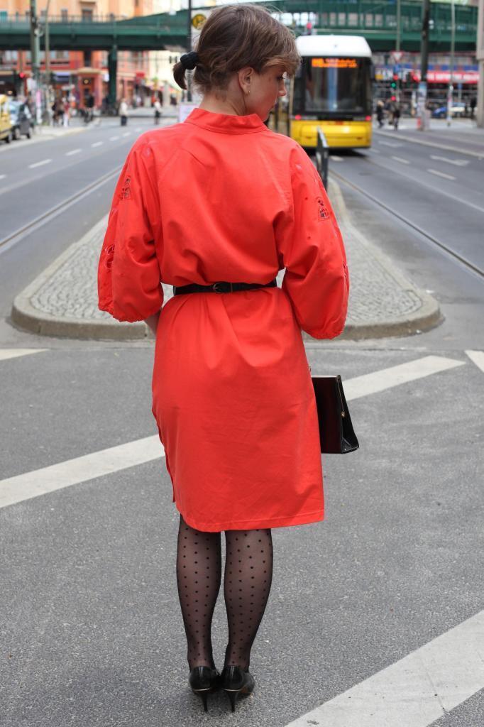 Abito rosso taglio diritto con tasche cotone cotone cotone 90er True Vintage 90s DRESS RED a008b1
