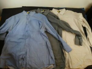 3 Stacy Adams Men's BIG & TALL French Double Cuff Dress Shirts 20/34-35