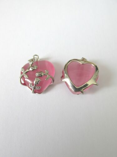 2pcs pink cats eye glass heart pendant  jewellery making craft UK