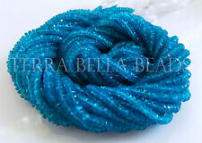 "13"" strand bright neon blue APATITE faceted rondelle gem stone beads 3mm - 3.5mm"