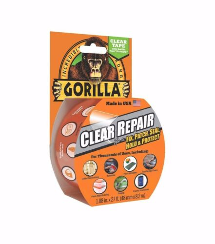 """Gorilla Clear Repair Duct Tape 1.88/"""" x 9 yd Fix Patch Seal Strong Tool"""
