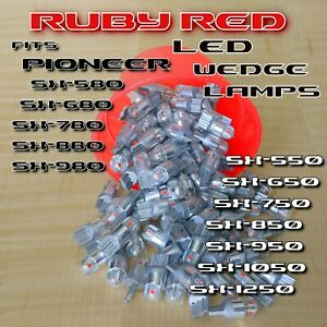 (8)  RUBY RED  8V LED WEDGE LAMP for SX750 SX880 SX850 SX950 SX-1050 Receiver