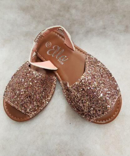 Girls Ella Rose Gold glitter palma style sandals size 10-2