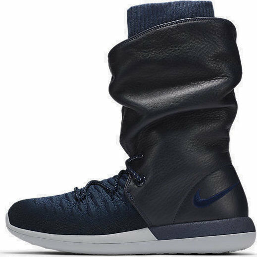 Nike Roshe Two Flyknit Hi 861708-400 Collage Navy Wmn Sz 6 Boots