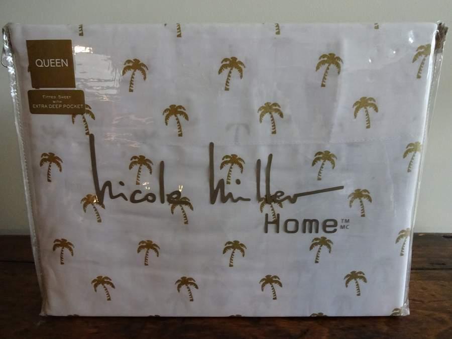 NICOLE MILLER Metallic Gold PALM TREES COASTAL Beach COTTON XDP QUEEN SHEET SET