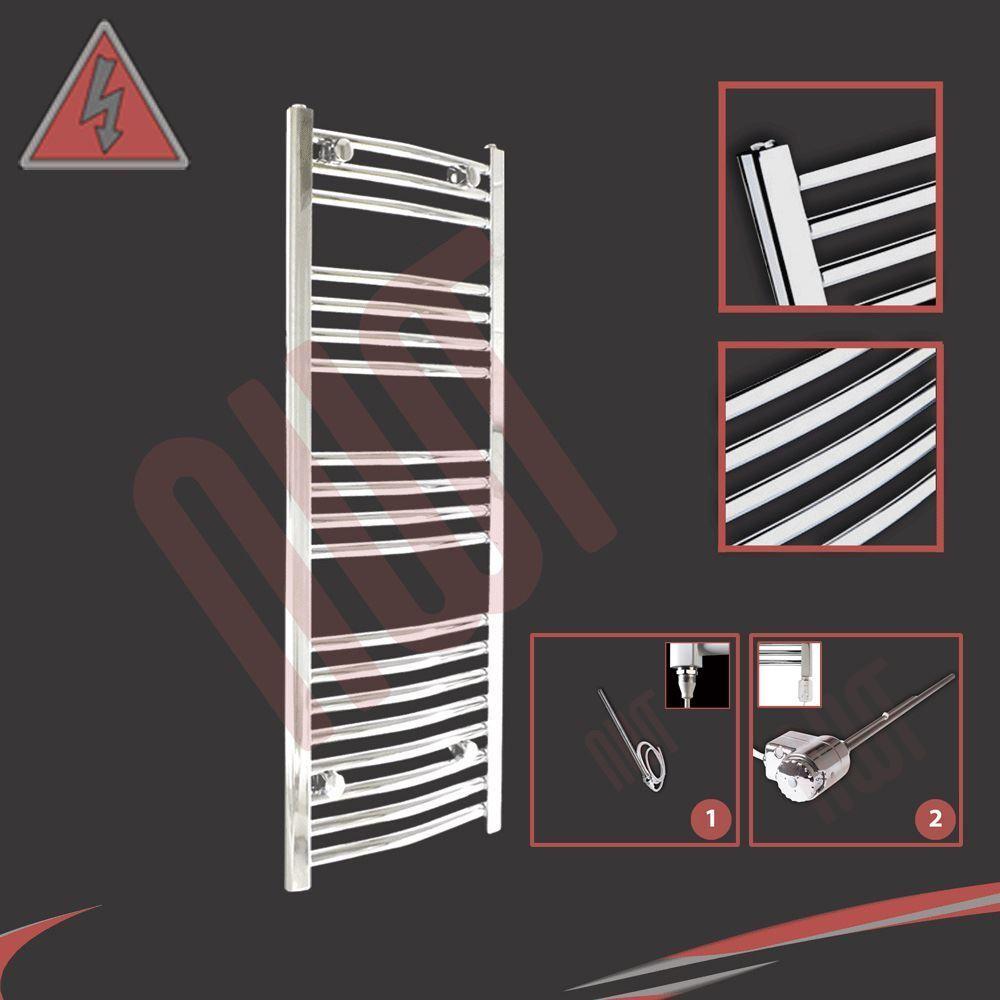 400mm (w) x 1000mm (h) préremplie électrique courbé porte-serviettes chrome - 250W   300W